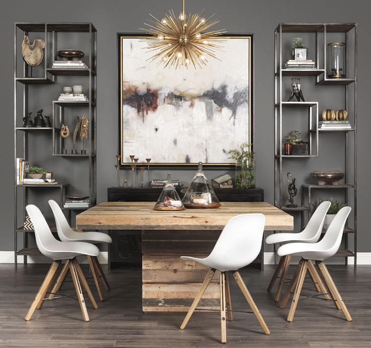 INDUSTRIAL SQUARE DINING TABLE | Lofty Ideal: made of reclaimed and repurposed pine, the Tahoe Square Dining Table combines rustic charm with modern design | See more at bocadolobo.com/ #moderndiningtables #luxurydiningtables