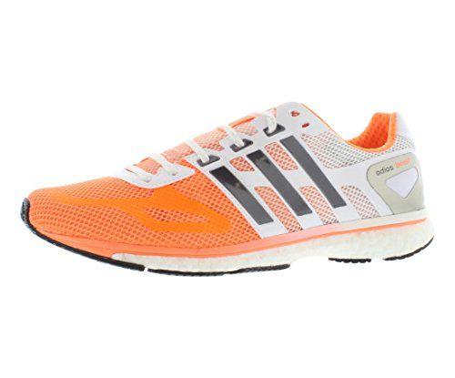 Womens adidas adizero Adios Boost, Orange/White, 7 M US