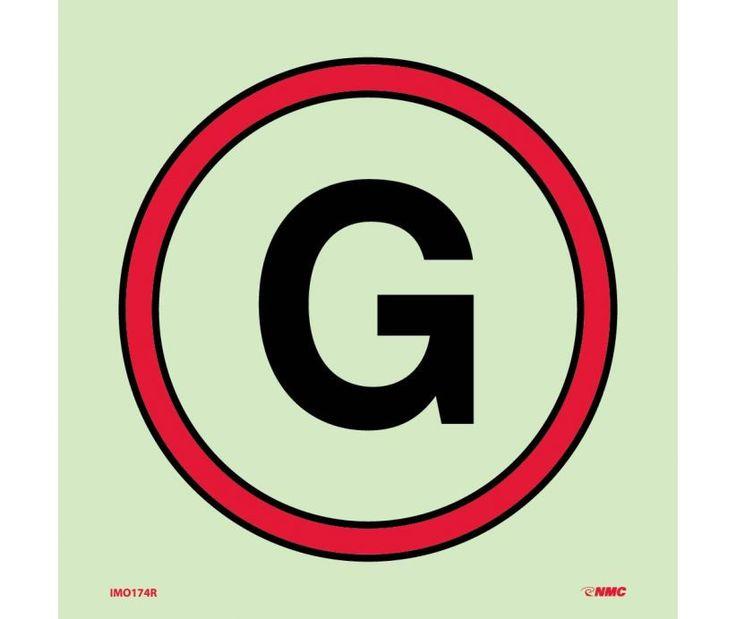 IMO, Symbol, EMERGENCY GENERATOR, 6X6, Glow Vinyl LAMINATED