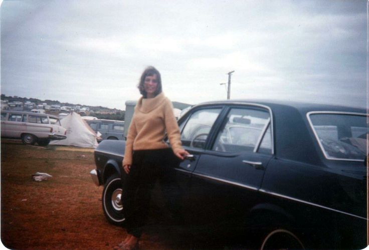 Colleen next to the XR Falcon at Port Lincoln on a spearfishing trip - end 1967?