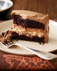 Crunchy Milk Chocolate-Peanut Butter Layer Cake Recipe from Food & Wine: Layered Cakes, Butter Layered, Chocolates Peanut Butter, Chocolates Cakes, Milk Chocolates, Cakes Recipe, Crunchi Milk, Chocolate Peanut Butter, Birthday Cakes