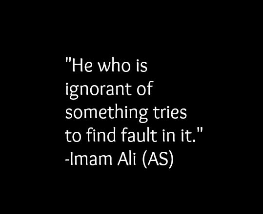 He who is ignorant of something tries to find fault in it. -Hazrat Ali a.s