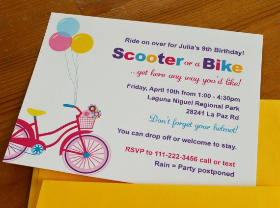 Girl Bike and Scooter party / Outdoors party : Birthday