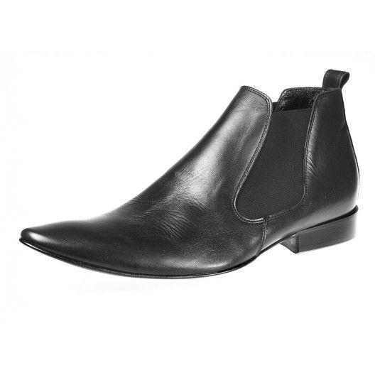 Pánske kožené čižmy čiernej farby - fashionday.eu