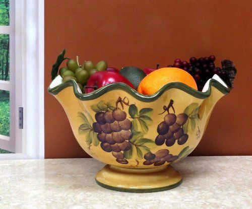 Tuscany grape wine decor pedestal fruit bowl kitchen - Kitchen curtains with fruit design ...