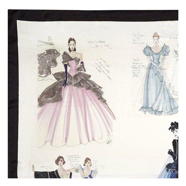Peter O'Brien's stunning collection of silk scarves for @arnottsdublin #fashion #irish #irishfashion #design #illustration #costume #theatre #sketch #silk #scarves #scarf #arnotts #peterobrien