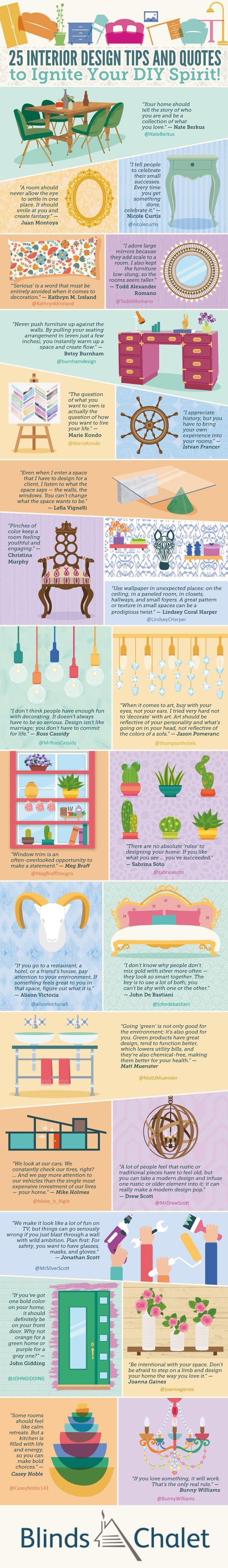 25 Interior Design Tips and Quotes to Ignite Your DIY Spirit #Infographic #InteriorDesign #Quotes