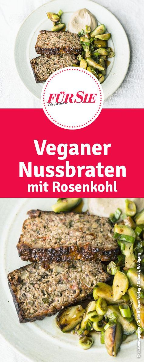 Nussbraten mit veganer Aioli und Rosenkohl