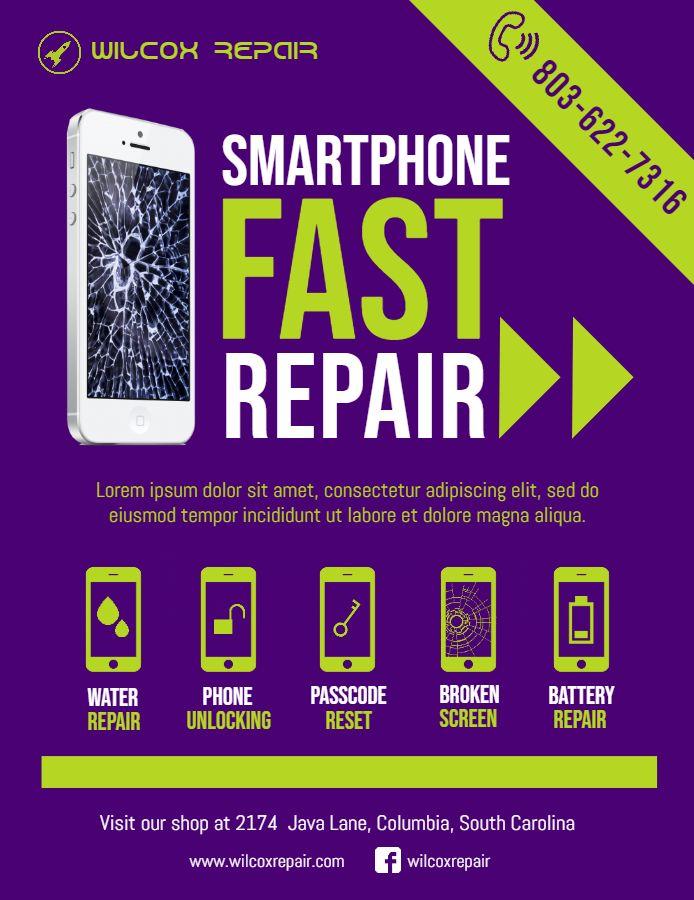Modern Ad Design Phone Repair Flyer Template Pc Repair