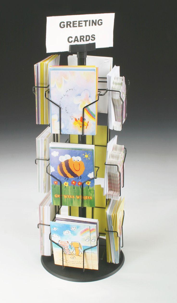 Rotating Greeting Card Display w/ Sign Clip, Countertop, 12 Pockets - Black  $32.65
