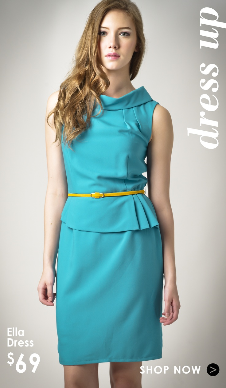 #Make elegance your style with this Ella Dress. Outfitted in a banded neckline and timely peplum waist, this dress oozes feminism. Spruce up the look simple yellow slim belt and you are ready to impress at work.    � Fold down crew neck  � Sleeveless with side zip  � Asymmetrical fold detail at shoulder  office fashion #2dayslook #new style #fashionforwomen  www.2dayslook.com