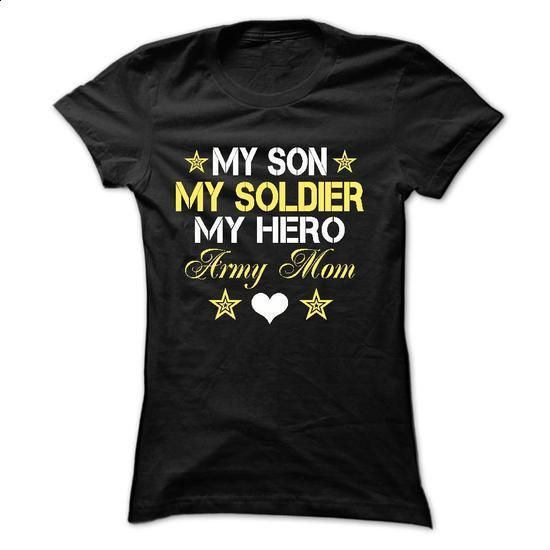 MY SON, MY SOLDIER, MY HERO, ARMY MOM - #blank t shirts #free t shirt. ORDER NOW => https://www.sunfrog.com/LifeStyle/MY-SON-MY-SOLDIER-MY-HERO-ARMY-MOM-5376-Black-18562181-Ladies.html?id=60505