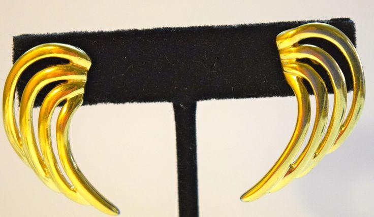 Vintage Costume Swirl Pierced Earrings
