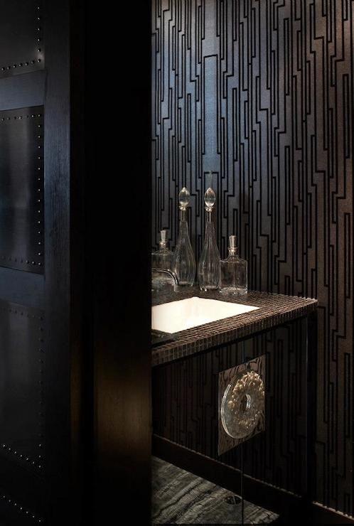 Deborah oppenheimer interior design bathrooms black for Black room wallpaper