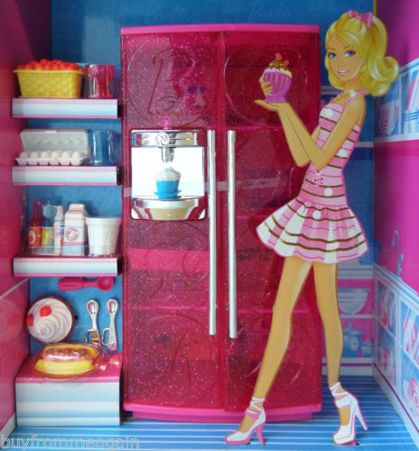 Barbie Kitchen Set House Furniture Pink Refrigerator Food Dollhouse New Open Box | eBay