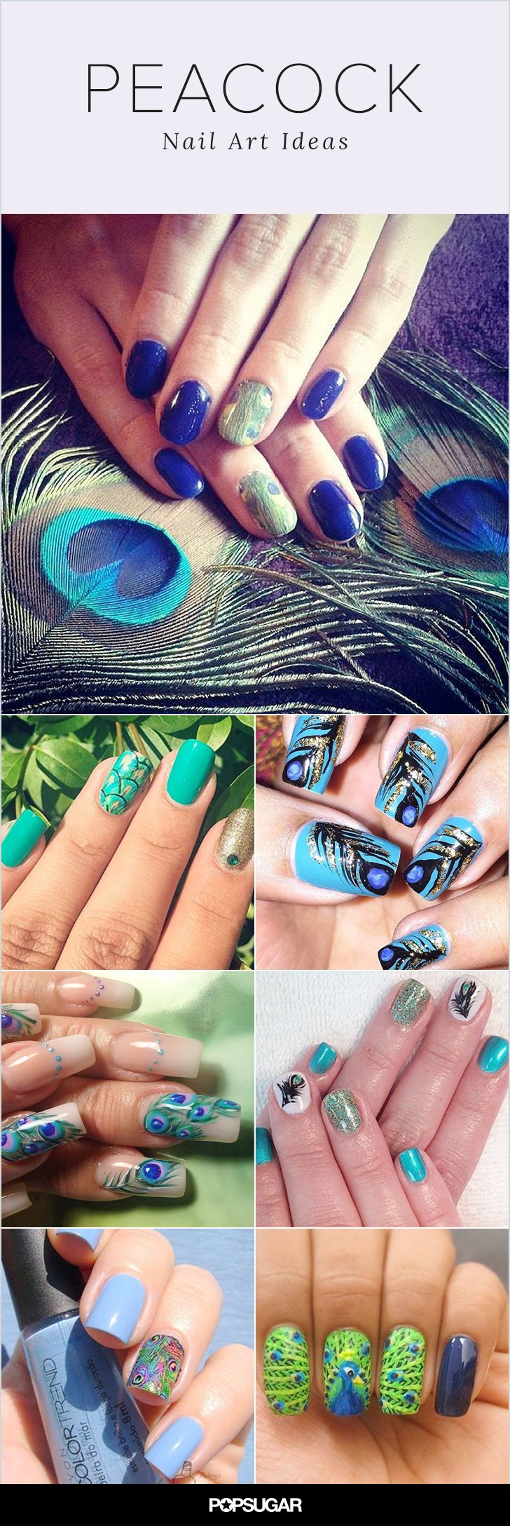 """Look up the term """"peacock"""" and you'll find something along the lines of: """"displaying oneself ostentatiously; strutting like a peacock."""" Naturally, it's a phrase bold beauty-lovers would take as a compliment! So when we saw that feathered nail art looks — inspired by peacock plumes — are the latest Instagram craze, we quickly got behind it. Keep reading to discover the many ways women are interpreting this trend!"""