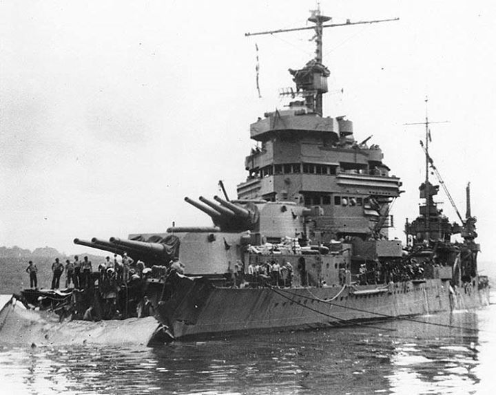 1st December 1942 - USS Minneapolis in Tulagi, Solomon Islands, under repair after being hit by torpedo during Battle of Tassafaronga