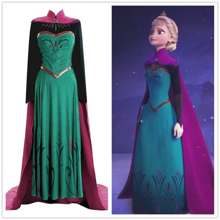 Disney Movie Frozen Elsa Coronation Dress Costumes