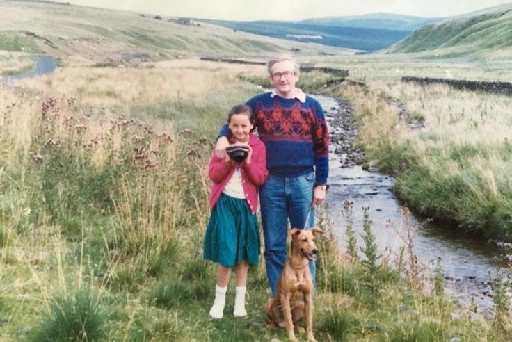 Karen, her dad Alex and dog Rusty