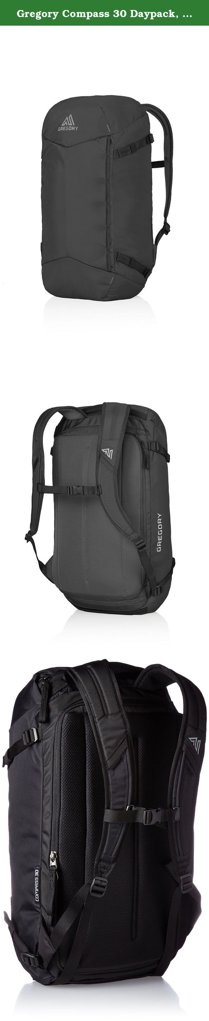 Gregory Compass 30 Daypack, True Black, One Size. The Compass 30's compact profile and trail-ready ergonomic shoulder harness give it all the capabilities of an outdoor daypack, quick access, organization, panel access and padded laptop sleeve make it a business-savvy office assistant. Its 30-liter capacity offers more than enough space for lunch, gym wear, and a fresh change of clothes.