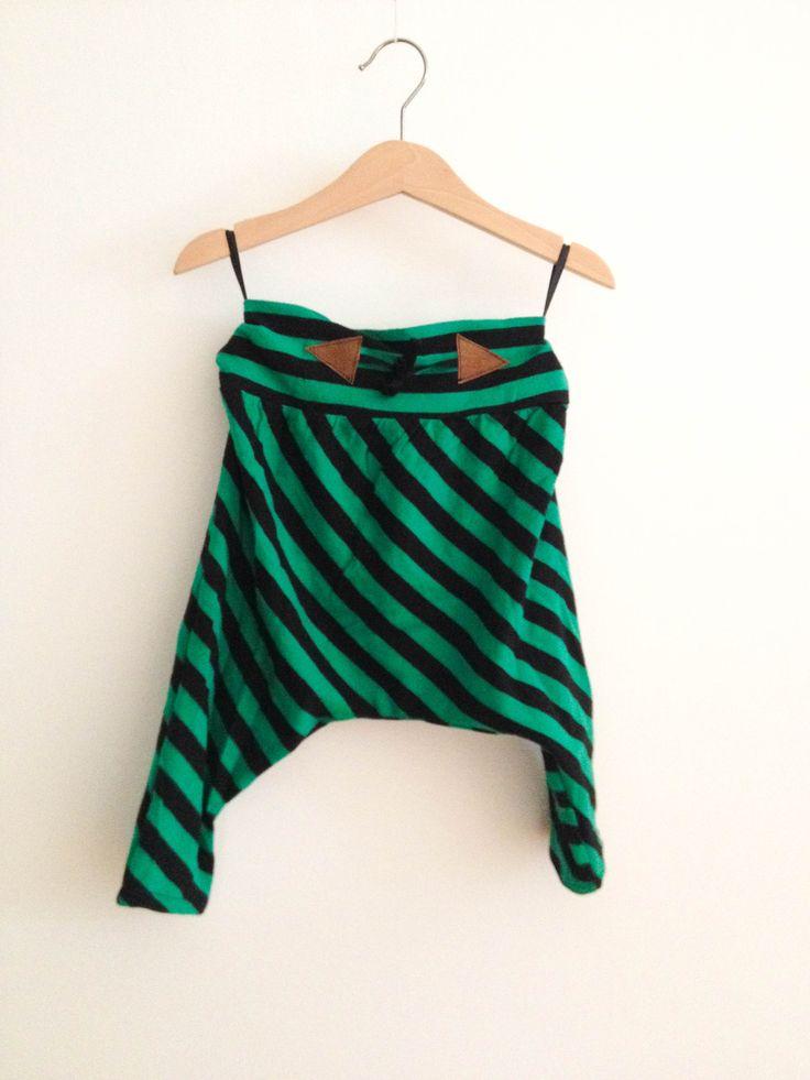 Zöld-fekete csíkos mini hárempantalló / pamut, mábőr, gyerek, nadrág, Baba-mama-gyerek, Ruha, divat, cipő, Gyerekruha, Kisgyerek (1-4 év), Meska