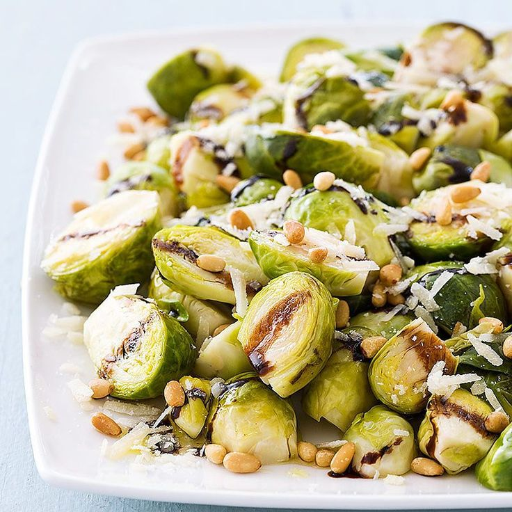 These dressed-up brussels sprouts are perfect for the holiday table — and they leave the oven open for the main course. Chicken broth added savory depth, and a drizzle of balsamic glaze and olive oil contributed intense flavor and richness. Pine nuts lent a delicate crunch.