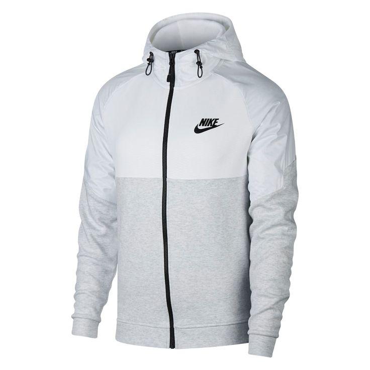Men's Nike AV15 Full-Zip Hoodie, Size: Medium, Light Grey