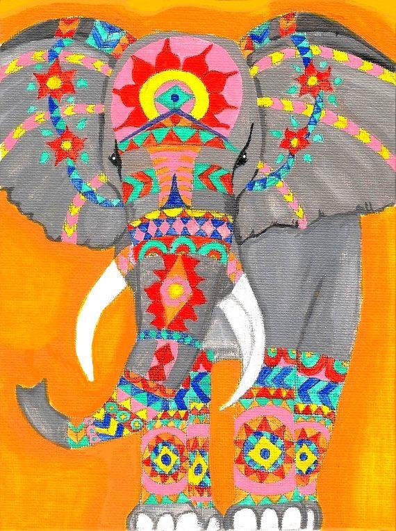 Indian Elephant Giclee Art Print Elephant Art Bohemian by SageArt9