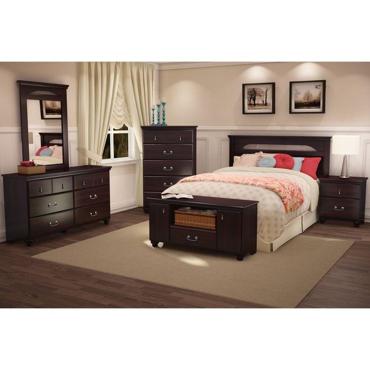 Dark Mahogany Wood Grain Finish Bedroom Dresser With 6 Drawers