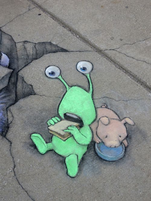 """David Zinn: """"In retrospect, Sluggo wondered if he should have been more specific about the particulars of a sidewalk picnic."""""""