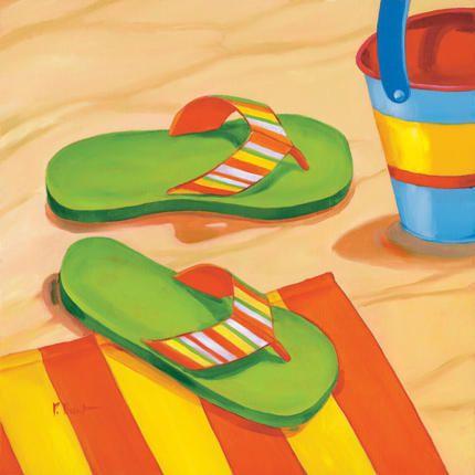 Green Flip Flops Art Print