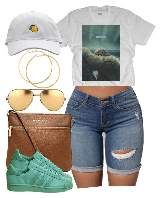 """""""I realized I'm just too much for you."""" by cheerstostyle ❤ liked on Polyvore featuring MICHAEL Michael Kors, adidas, Linda Farrow and H&M"""
