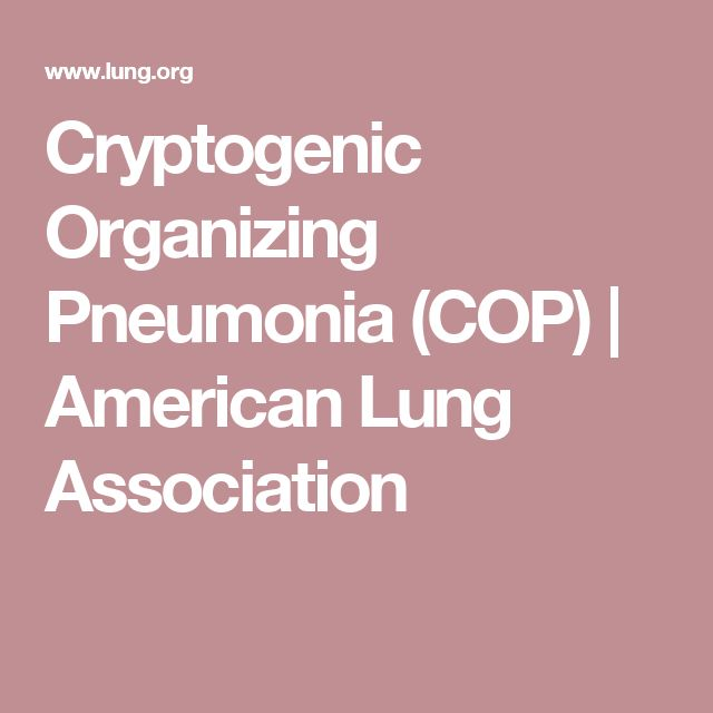 Cryptogenic Organizing Pneumonia (COP) | American Lung Association