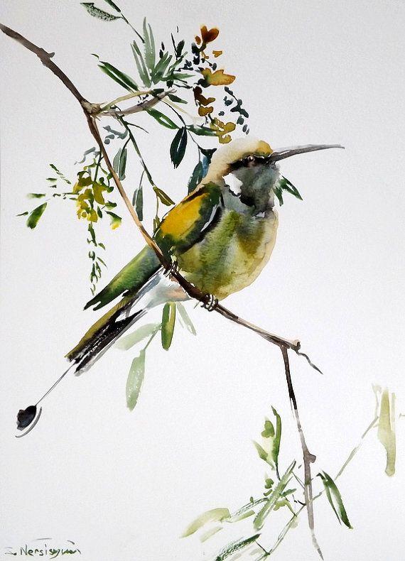 Green Bee Eater, original watercolor painting, 15 X 11 in, green bird lover art, bird painting
