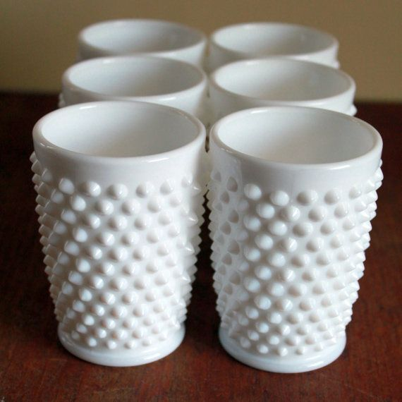 Vintage Hobnail White Fenton Glass Cups Set