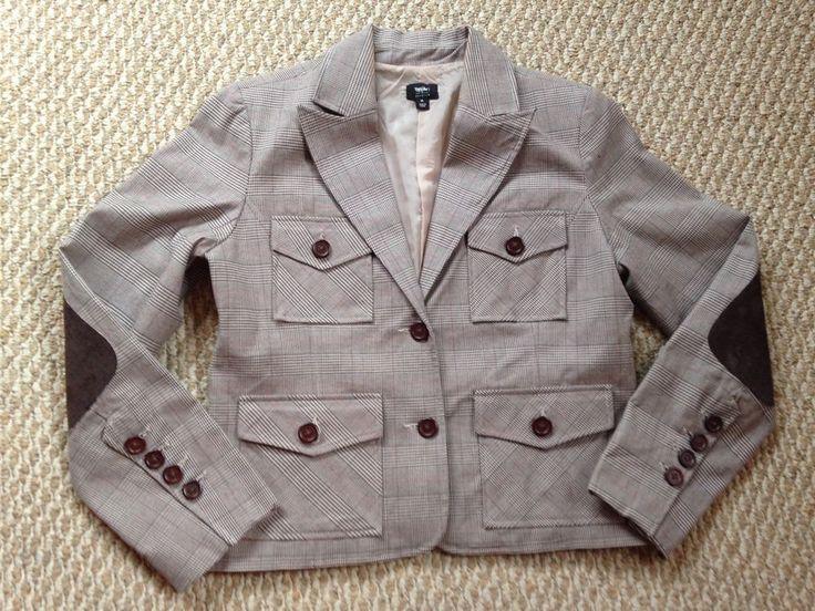 Plaid Brown Blazer w/ Elbow Pads - Medium (Trendy) *Free Shipping* #NA #Blazer