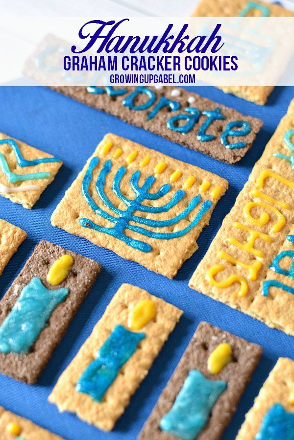 """Use graham crackers to make these easy Hanukkah """"cookies""""! Kids love making these and learning about the symbols and words of Hanukkah."""
