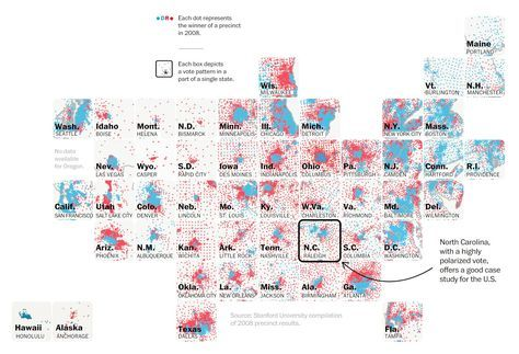 Partial screen capture of the interactive Map What one swing state can teach us about political polarization in America