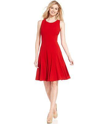 Calvin Klein Sleeveless Pleated A Line Dress Regular Pee Sizes