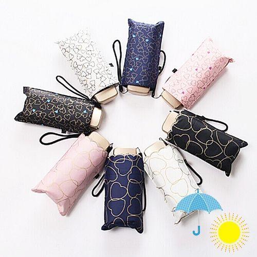 晴雨兼用・UV CUT★コンパクト折り畳み雨傘(ハート柄)