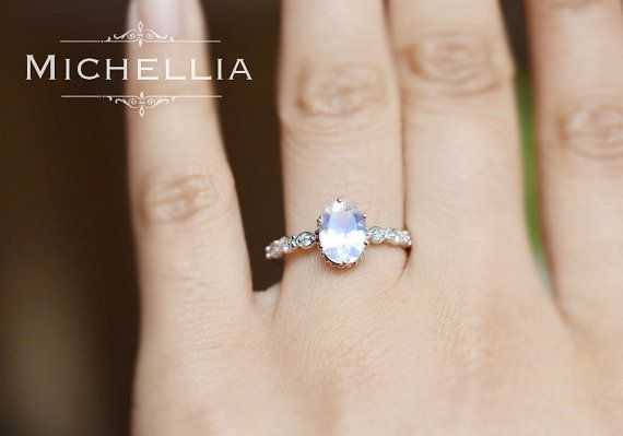 White Gold Moonstone Engagement Ring with by MichelliaDesigns