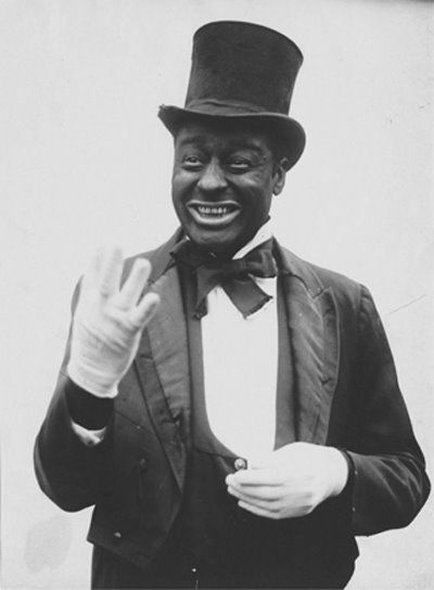 Before the Civil War, black men could not appear in minstrel shows--custom prohibited it.  After the Civil War, thousands of emancipated slaves performed with minstrel shows, medicine shows, and circuses, with the newly gained freedom to travel and to make a living playing music. Several of the most famous minstrels were actually black men who performed in blackface--the most famous being Bert Williams. [image: Bert Williams in blackface, undated.] Yale Collection of American Literature