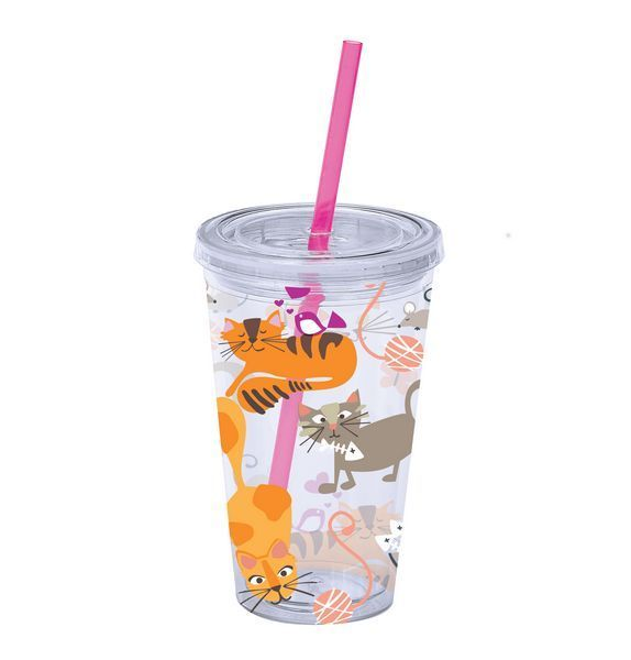 """Cat Theme Insulated Plastic Tumbler with Lid and Straw """"Frisky Business"""" - 38145"""