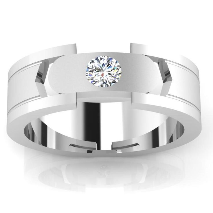 14K White Gold Mens Ring 0.21 Ct Natural Diamond Engagement Mens Band Size V,U,Z
