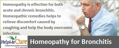 Homeopathy is effective for both acute and chronic bronchitis. Acute bronchitis often follows a viral illness that can last for several weeks. Chronic bronchitis may develop if a person has repeated bouts of illness that are not well cared for, or  factors such as smoking, exposure to polluted air and allergies lowering the person's resistance and made the lungs susceptible. Homeopathic remedies helps to relieve discomfort caused by coughing and help the body overcome infection.