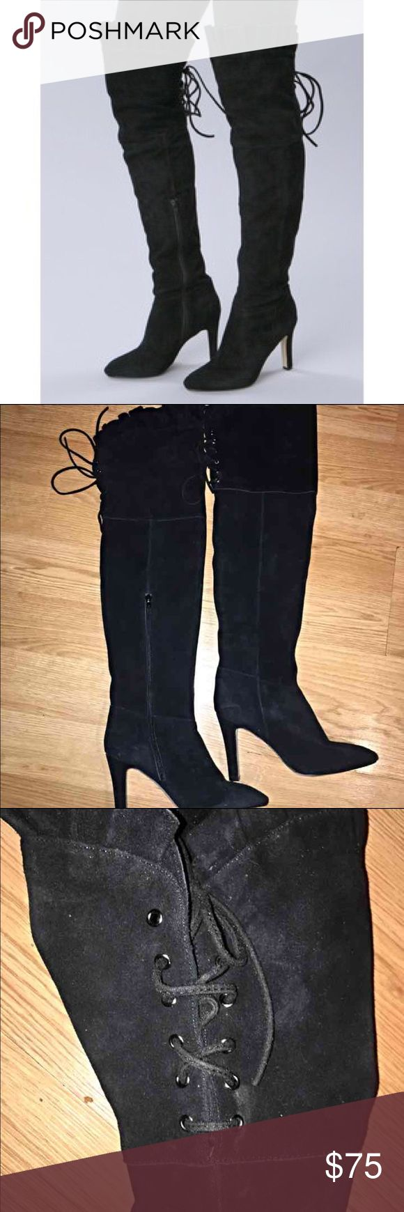 Kelsi Dagger sexy thigh high boots! Super sexy boots! Suede. Has shoestring ties in the back and zips up the side. In great condition! Kelsi Dagger Shoes Over the Knee Boots
