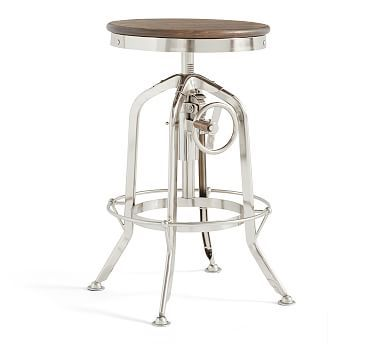 Pittsburgh Adjustable Height Bar Stool Polished Nickel In 2019
