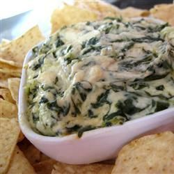 "Artichoke & Spinach Dip Restaurant Style | ""Best. dip. ever!! Made it for a Superbowl party with homemade tortilla chips. It was scraping off the sides kinda good!"""