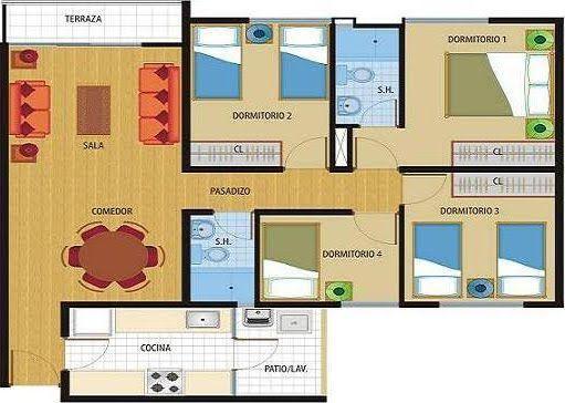 Planos De Casas De 100m2 De Una Planta | Planos de Casas