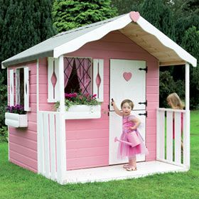 25 best ideas about girls playhouse on pinterest kids for Wooden wendy house ideas